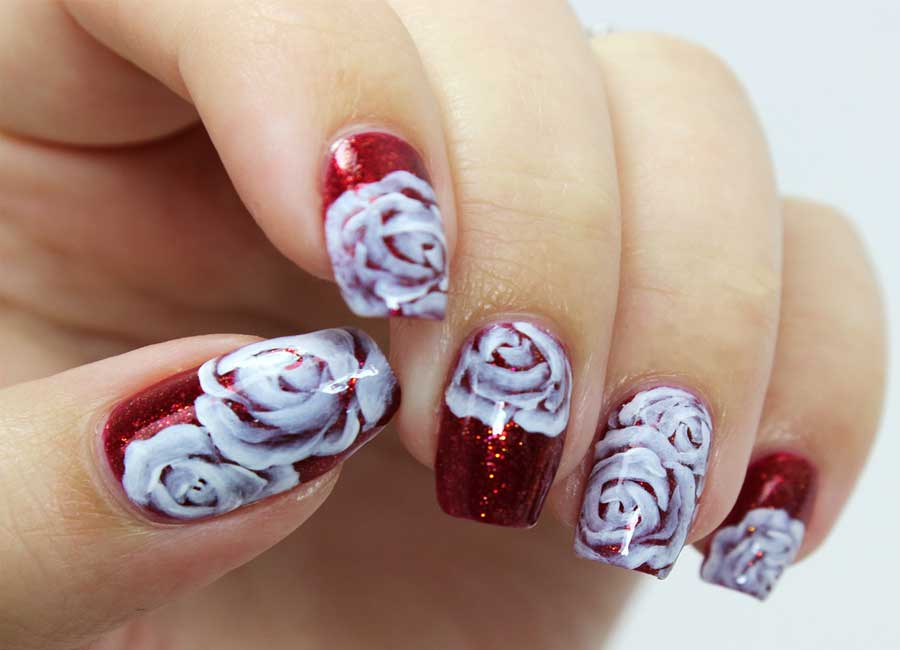 close up rose nail art