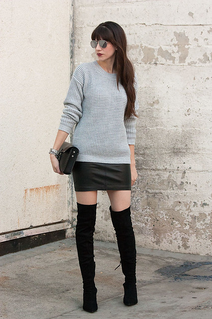 over the knee boots with mini skirt