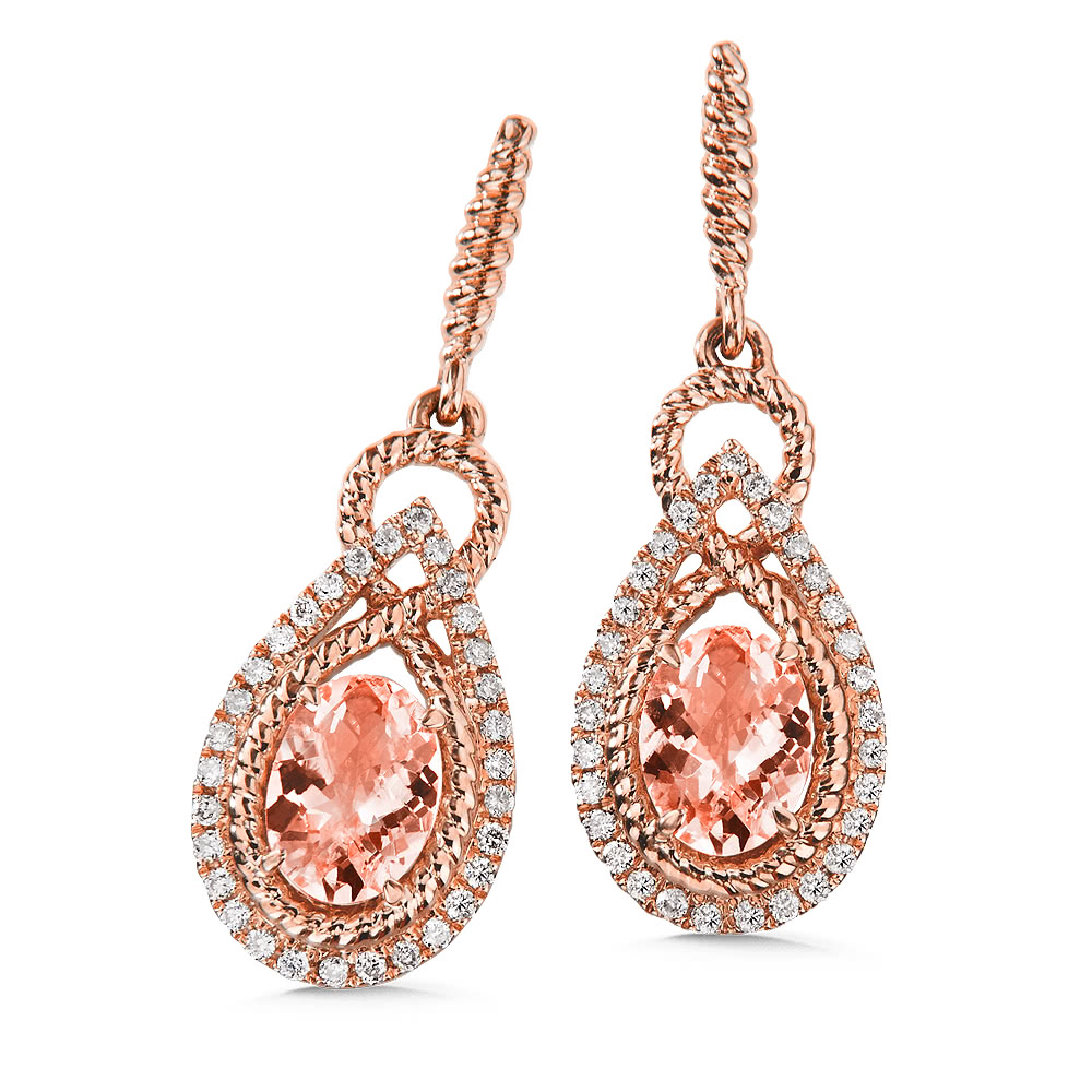 Morganite & Diamond Earrings 14K Rose Gold