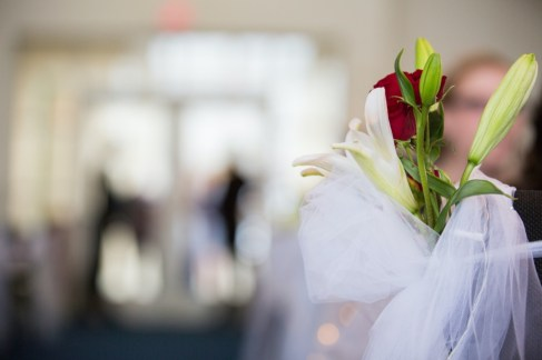 White and Red Floral Wedding Aisle Decor