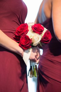 Dark Red and White Bridesmaid Bouquet