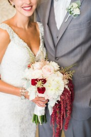 bridal bouquet and grooms boutonniere