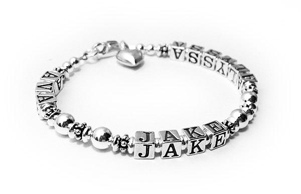 All Sterling Silver Multiple Name Mothers Bracelet With