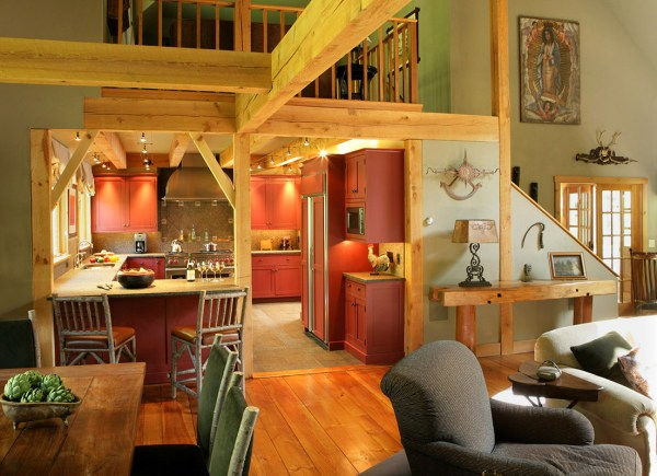 Vermont Country Kitchen In Post And Beam Home Design