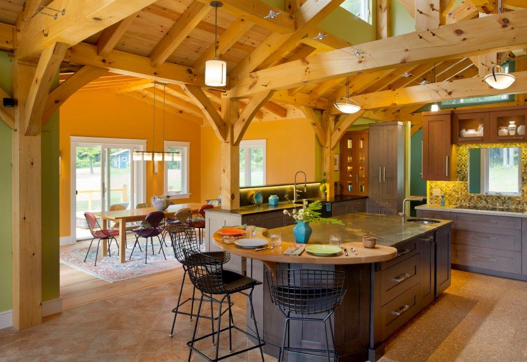 LEEDCertified Timber Frame with Eatin Kitchen Generous Work Area Bold Colors