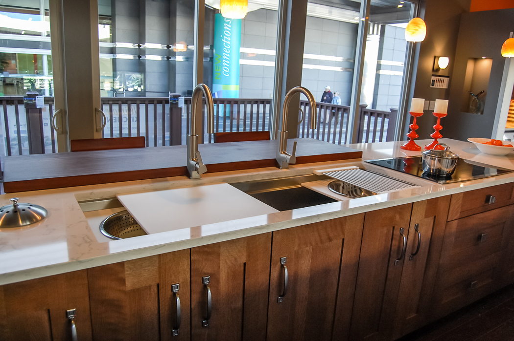 compost bin for kitchen 2 handle faucet modern kitchen/living space embraces color, innovation and ...