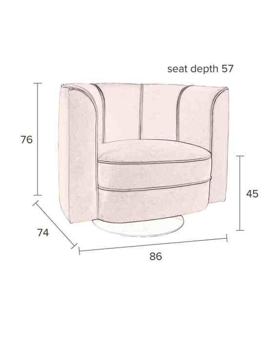 Flower loungestoel Dutchbone afmetingen