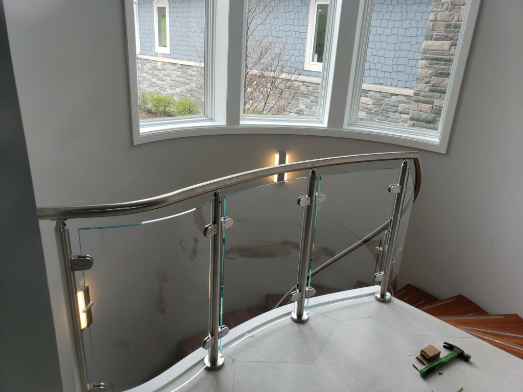 Glass Railing Installation Se Michigan Designs In Glass | Staircase Railing With Glass | Low Cost | Cost | Residential | Pinterest | Spiral