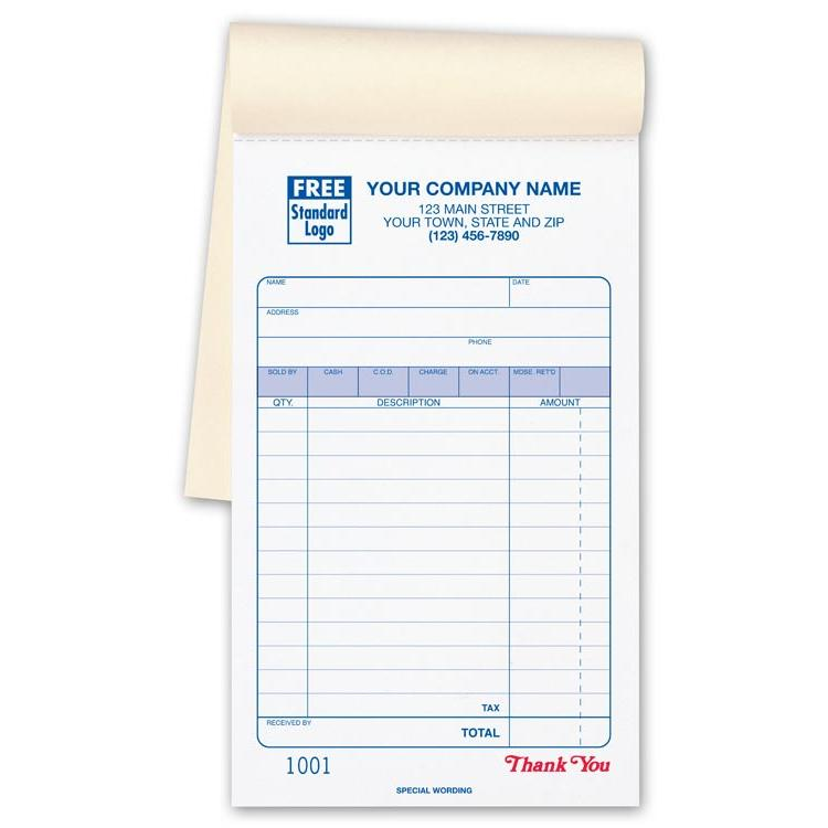 custom sales receipt book