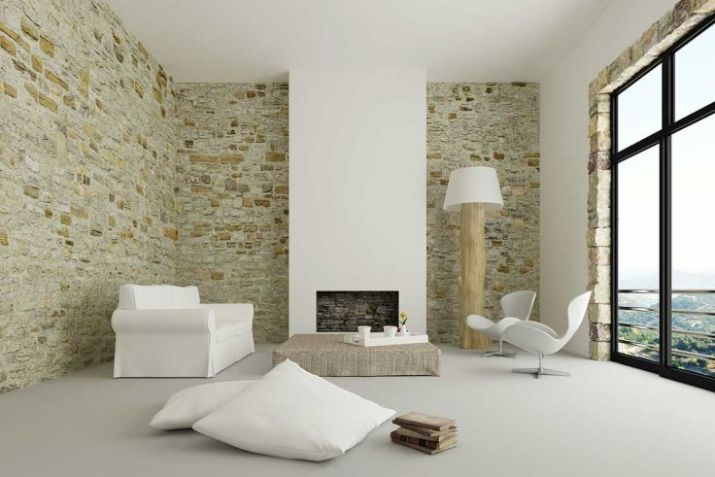 Modern-living-room-with-brick-wall-log-lamp-and-nice-mountain-view