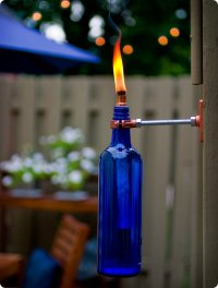 diy project: eriks recycled wine bottle torch  Design*Sponge