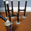Attach table legs with wood screws to the painted bottom half