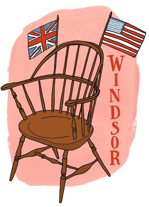 antique windsor chair identification navy blue past present history resources design sponge illustration by julia rothman