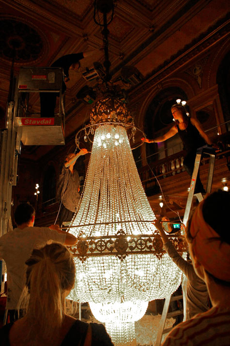 Image Above The Massive Chandeliers
