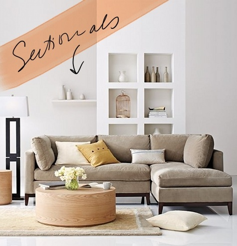 our new apt the hunt for the perfect sectional  DesignSponge