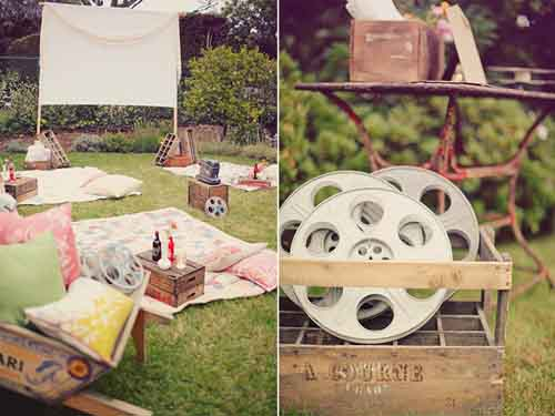 Perfect Picnic Cute Movie Picnic Collage Film Reels Blankets Movie Projector