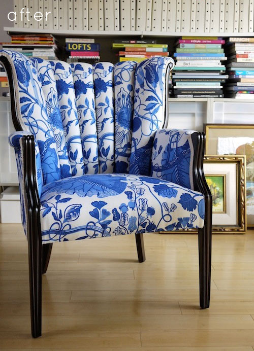 before  after reupholstered chair  DesignSponge