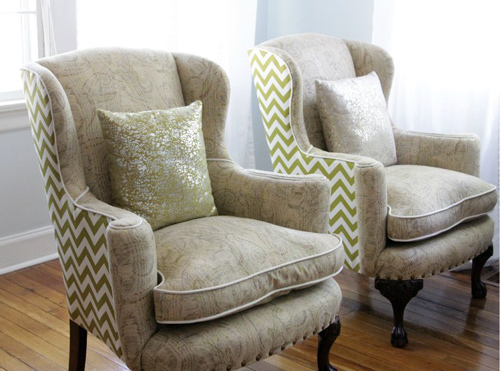 before  after reupholstered wingback chairs  DesignSponge