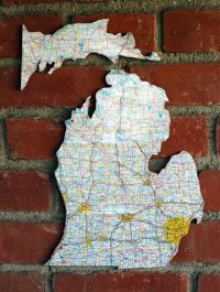 diy project: recycled road map cork board  Design*Sponge