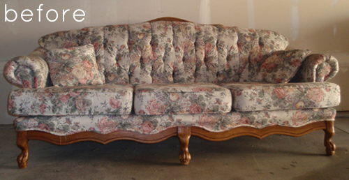 before  after reupholstered sofa with custom fabric