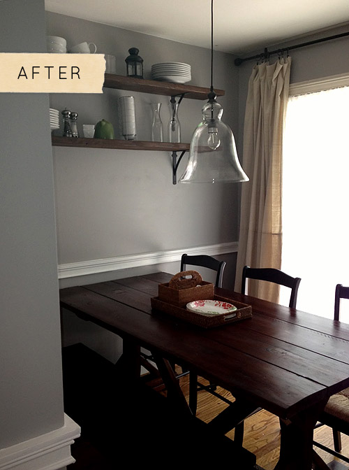 hanging ceiling chair hardwood floor mat staples before & after: a beautiful dining room on budget – design*sponge