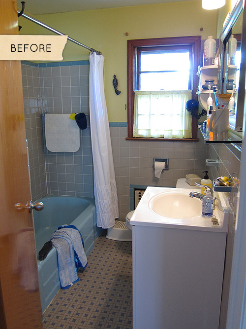 Before  After A Mismatched 1950s Bathroom Gets