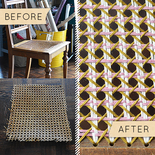 how to cane a chair outdoor table and chairs before after broken seat gets colorful yarny fix i can t tell you many ve seen thrown out onto the curb in brooklyn but say that it s lot m always tempted
