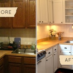 Kitchen Make Over Grape Decorations For Before After A Drab Gets One Day Makeover Design Sponge Apartment