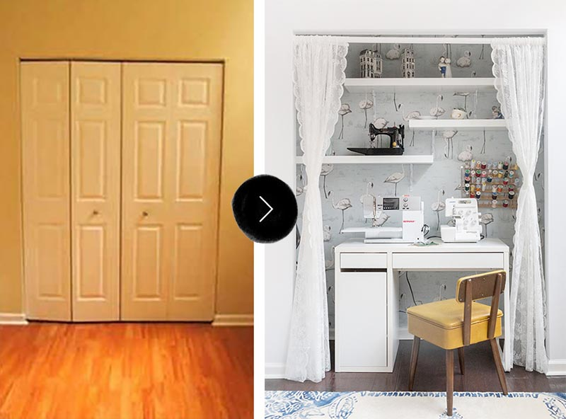 small chair mat bentwood chairs uk before & after: a nook becomes sewing station – design*sponge