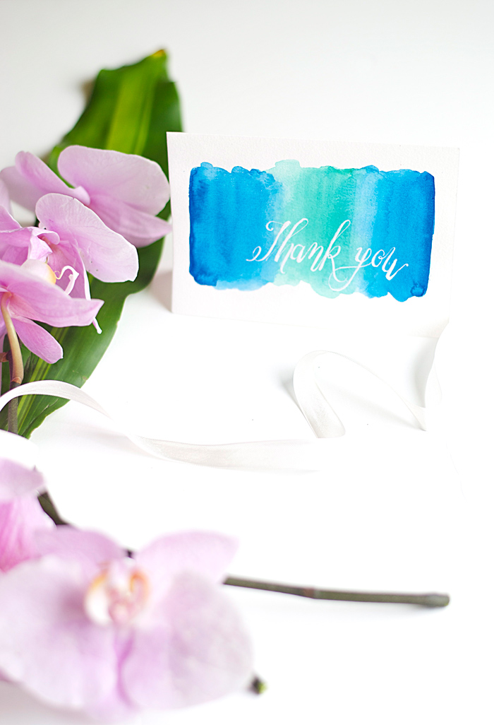 DIY Watercolor Thank You Cards
