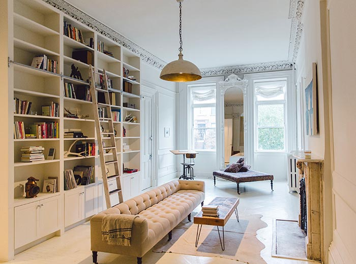 modern living room shelves how to decorate a with fireplace designer's serene brooklyn brownstone – design*sponge