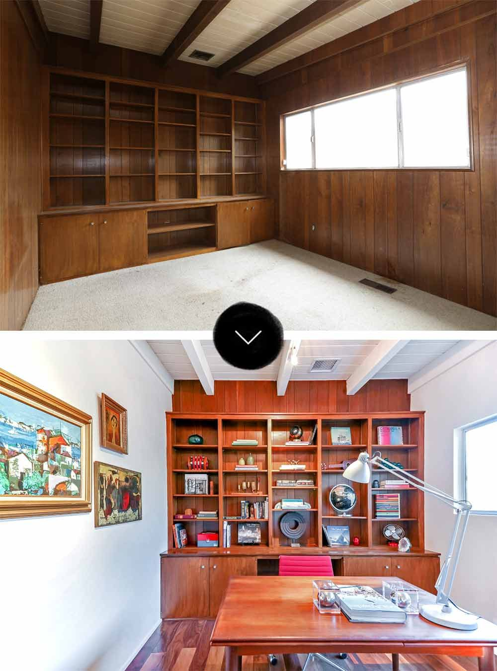 Before  After A MidCentury Post and Beam Home in Mt