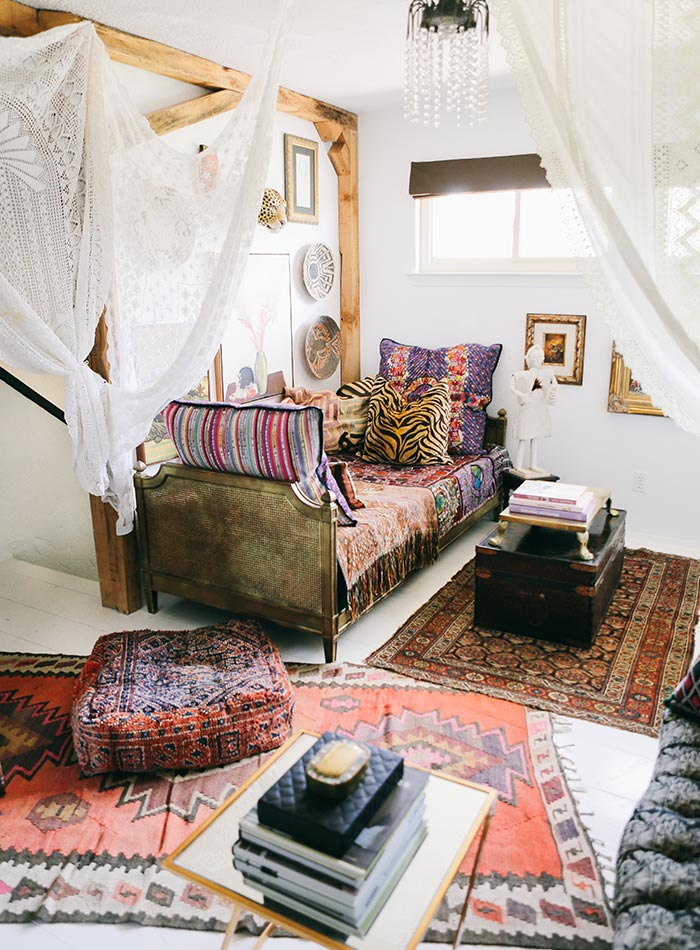 bohemian living room style wall pictures for uk in north texas, a maximalist's layered home ...