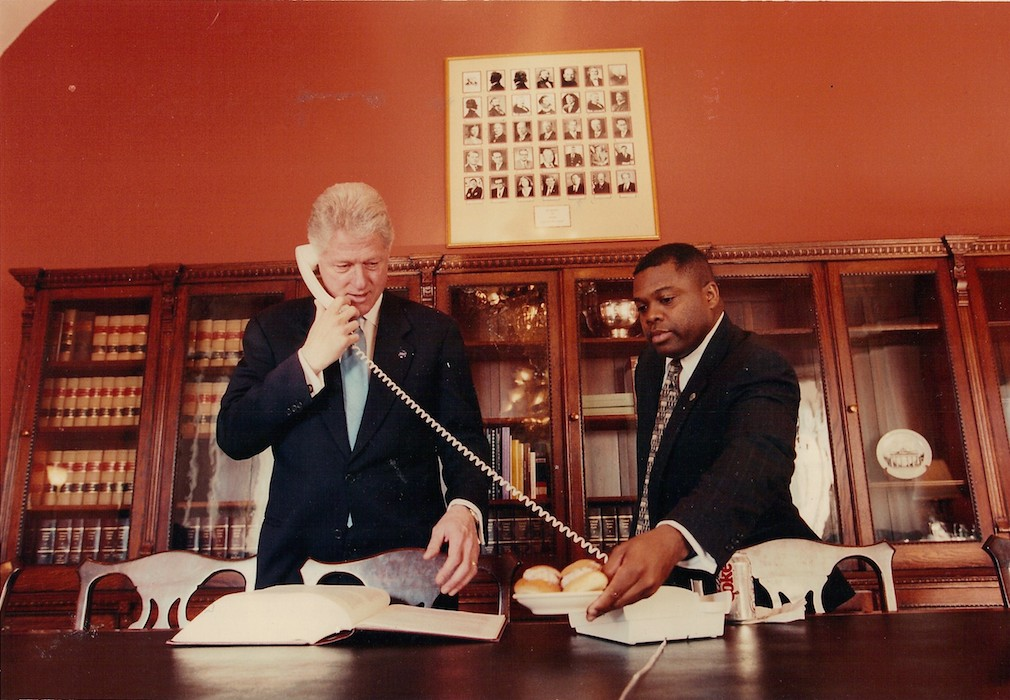 Chef Charlie Redden and President Clinton