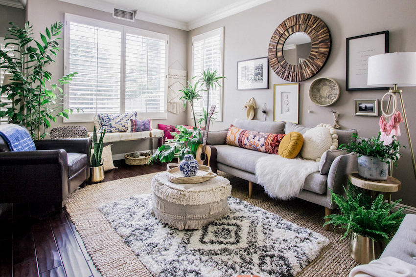 bohemian style living room floor to ceiling mirror in effortless boho transforms a 90s cookie cutter home design orange county sponge
