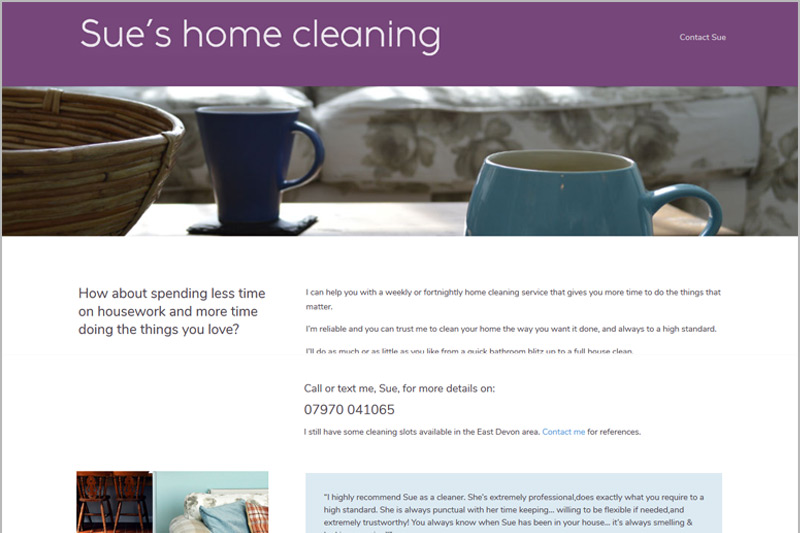 Sue's Home Cleaning single page website