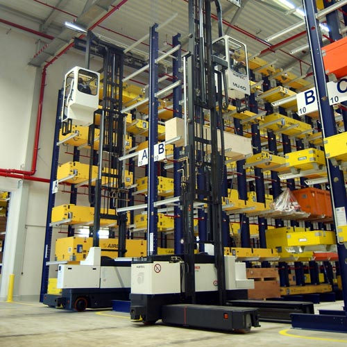 Hubtex electric multidirectional sideloader storing airplane parts in a cantilever rack system