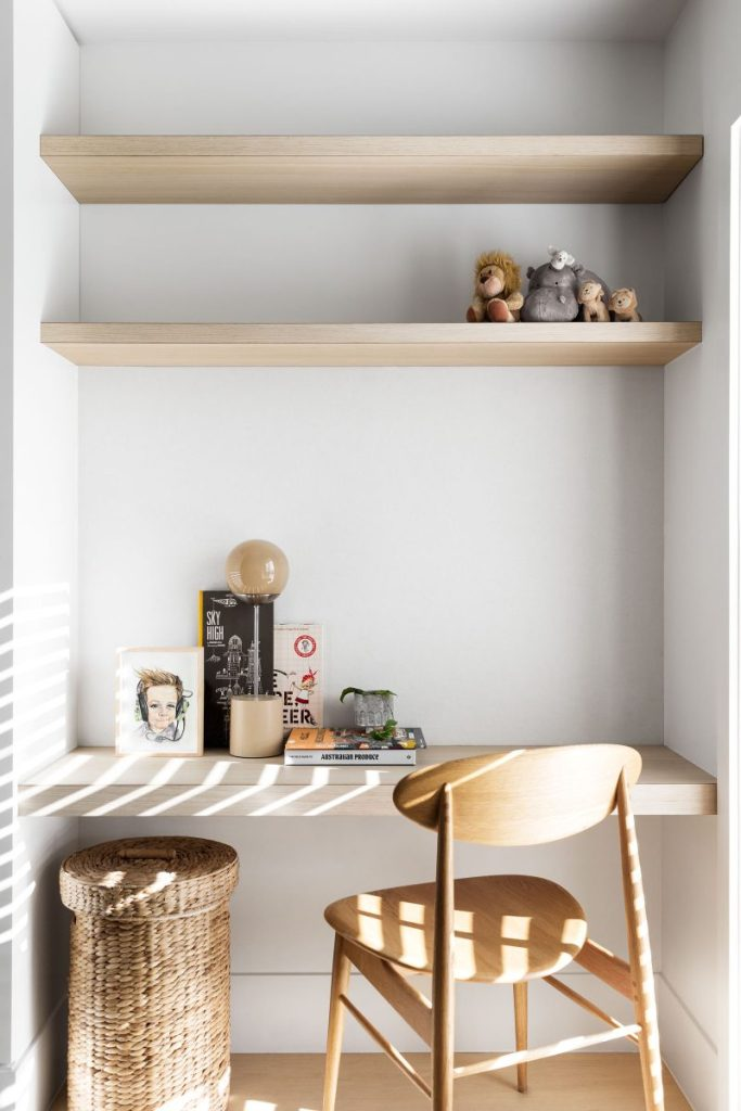 Natural and light desk nook