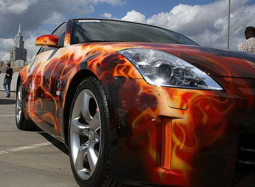 Artistic Customized Car Paint  Design Swan