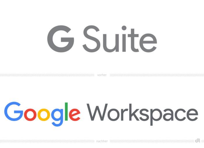 Google Workspace Logo – vorher und nachher