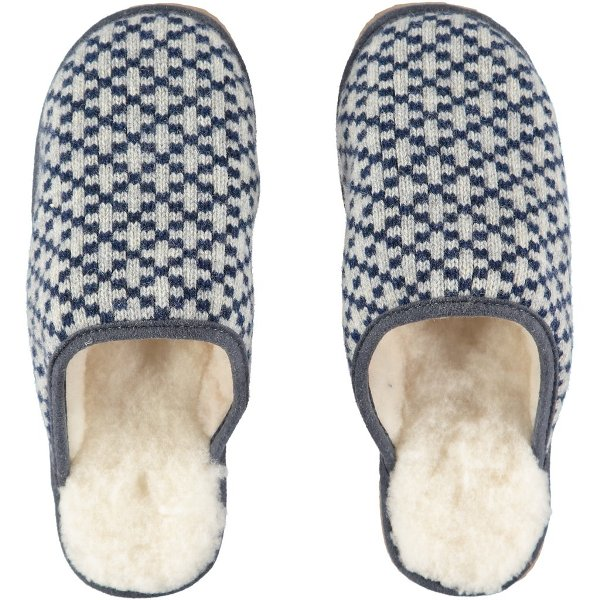 Navy Cross Lambswool & Sheepskin Slippers by Catherine Tough