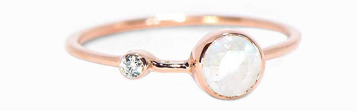 Moonstone Double Stone Ring