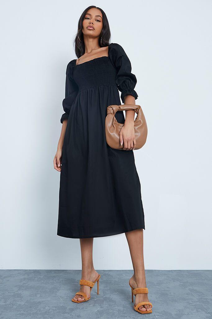 Black Cotton Shirred Square Neck Midi Dress £40.00