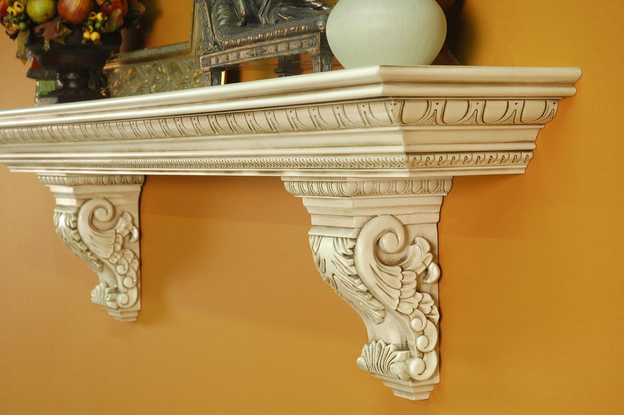 A Heavy Large Mantel Shelf With Solid Wood Acanthus Leaf