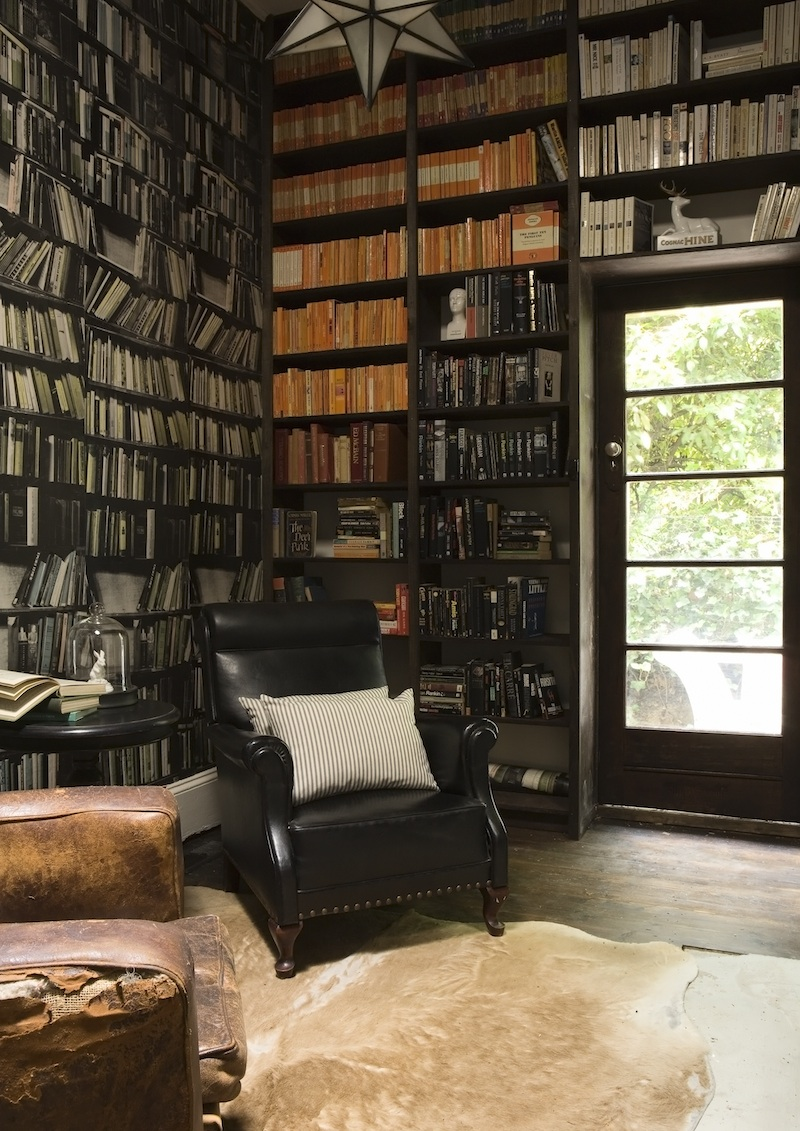 Library with Genuine Fake Bookshelves via EmpireVintage