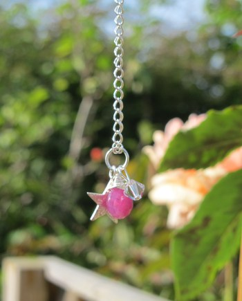 pink sapphire necklace silver