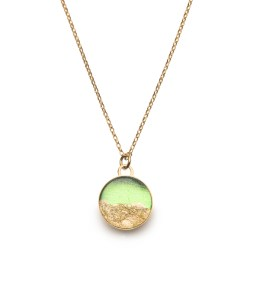 gold necklace in green & gold leaf