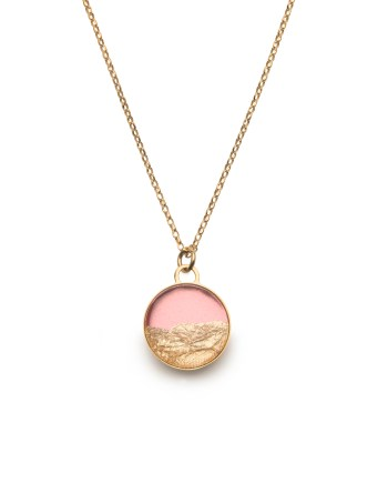 gold necklace with peach & gold leaf