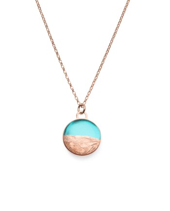 rose gold necklace with turquoise & copper leaf