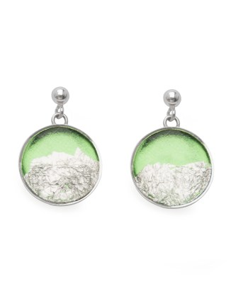 sterling silver earrings in green with silver leaf